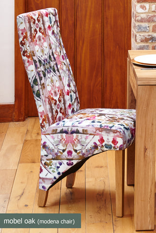 Mobel Oak Full Back Upholstered Dining Chair Modena Pack of Two