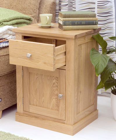 mobel oak one door one drawer lamp table images 1 2 3 4 5 6
