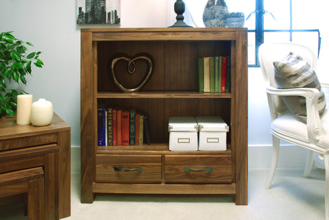 Mayan Walnut Two Drawer Low Bookcase