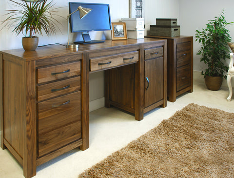 Mayan Walnut Twin Pedestal Computer Desk