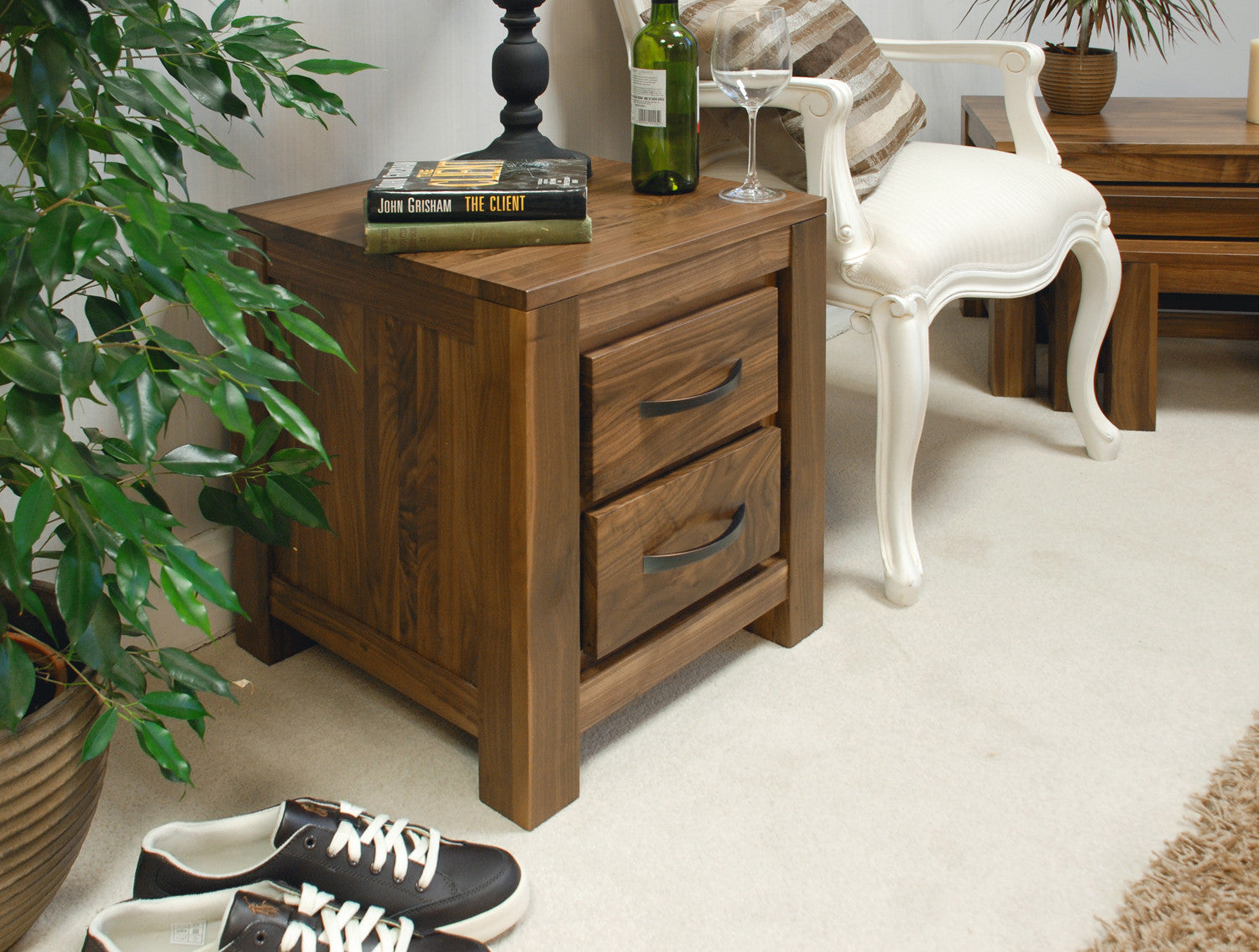 Mayan walnut two drawer lamp table signature hardwood mayan walnut two drawer lamp table geotapseo Image collections