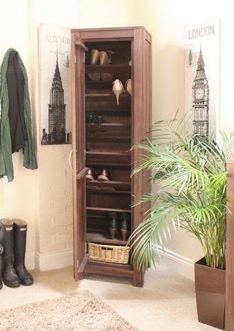 Mayan Walnut Tall Shoe Cupboard