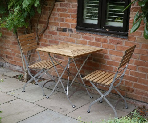 Florence Teak & Steel Range Folding Table (700mm) and 2 Chair set