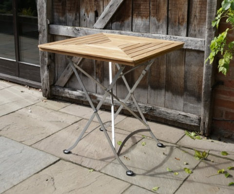 Florence Teak & Steel Range Square Folding Table (700mm)