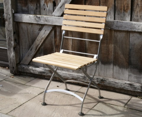 Florence Teak & Steel Range Folding Side Chair