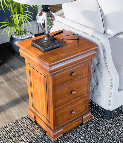 La Reine Mahogany Bedside Cabinet with Four Drawers