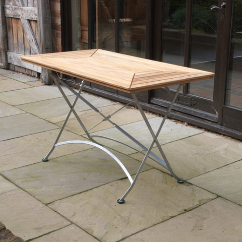 Florence Teak & Steel Range Folding Table (1200mm)
