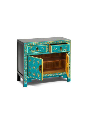 The Nine Schools Oriental Decorated Blue Sideboard