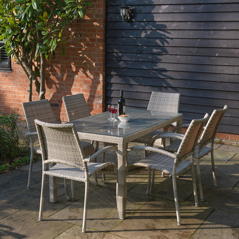 Paris Rattan Range Rectangular Dining Table set