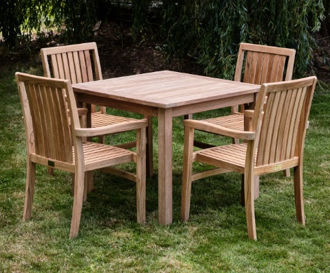 Teak Square Dining Table (900mm) and Chairs set