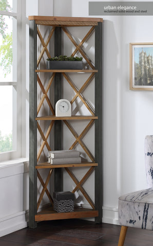 Urban Elegance Reclaimed Large Corner Bookcase