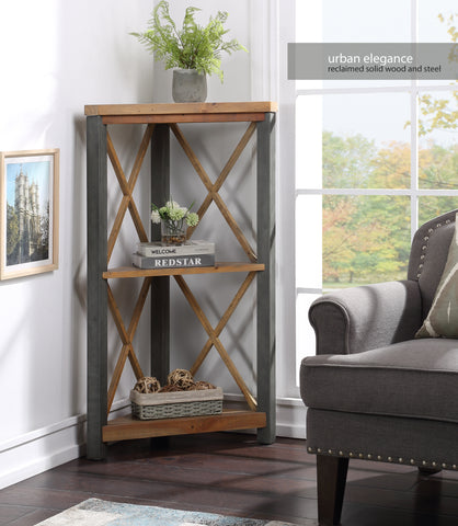 Urban Elegance Reclaimed Small Corner Bookcase