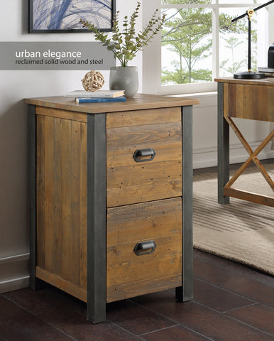Urban Elegance Reclaimed Two Drawer Filing Cabinet