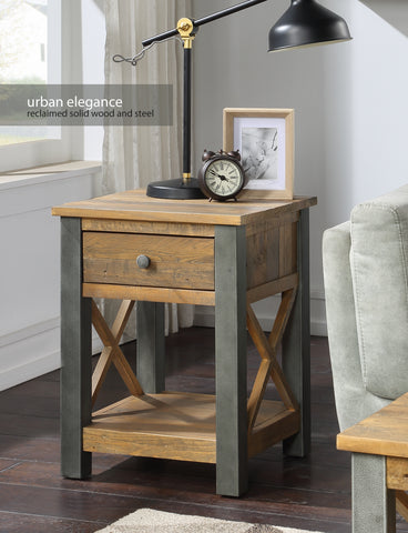 Urban Elegance Reclaimed Lamp Table With Drawer