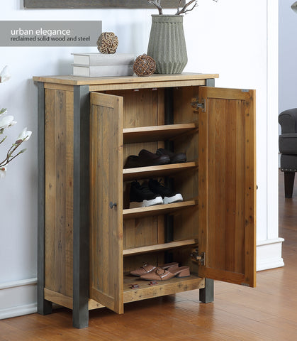 Urban Elegance Reclaimed Large Shoe Storage Cupboard