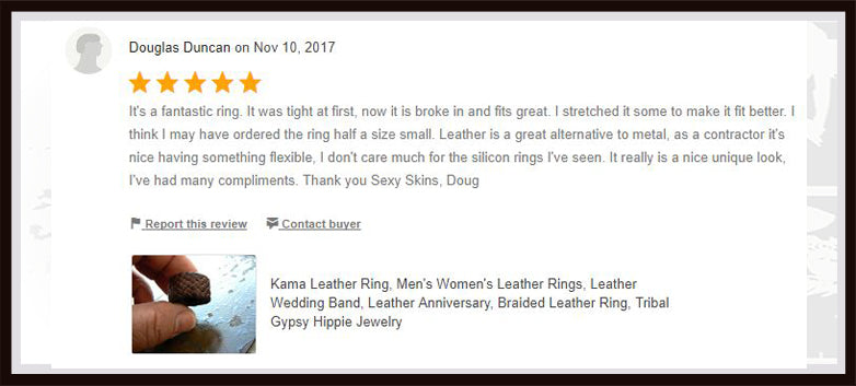 kama braided leather ring review from etsy shop