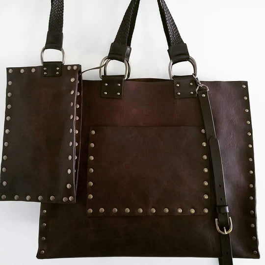 CUSTOM bison leather tote bag with braided leather handles
