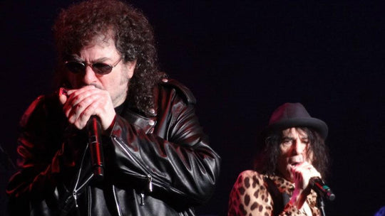 legendary harpist Magic Dick from the J. Geils band wearing his custom designed lambskin leather motorcycle jacket with Peter Wolf