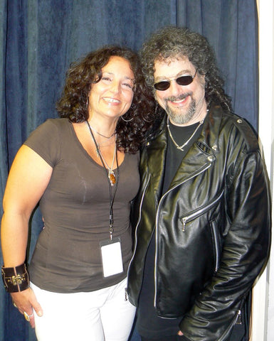 magic dick from the j. geils band with designer lisa cantalupo back stage after a concert