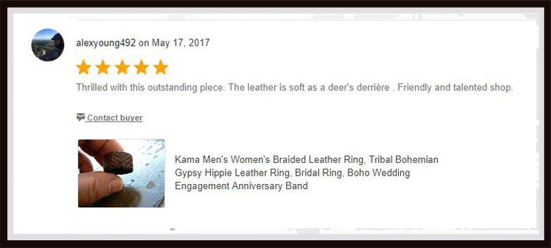 kama braided leather ring review on etsy
