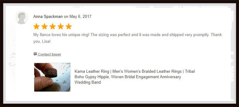 kama braided leather ring review from etsy