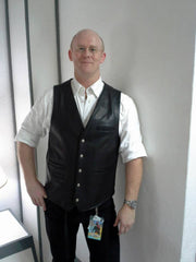 david in his custom designed leather vest with special fire arm inserted panels and pockets
