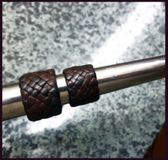 leather rings, braided leather rings on ring mandrel for sizing