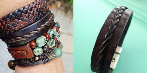 bracelet bunch featuring some favorites; Tyrese Twist Braid, Amari Braided Leather Bracelet, Kuende African Turquoise & Carnelian Bracelet, Yuki slim Braided Bracelet, and Powa African Glass Bead Bracelet