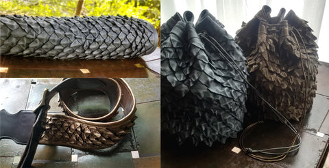 dragon scales; bracer, coin dice bag, guitar strap
