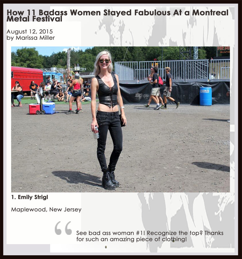 Emily wearing Sexy Skins Leather Rebel halter at Montreal Metal Festival