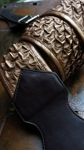 molded lambskin leather dragon scales guitar strap