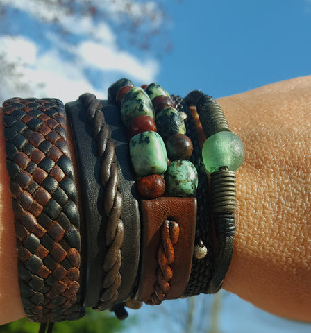 lisa's five most favorite designs - five unique leather bracelets; Kuende, Amari, Yuki, Tyrese, and Powa