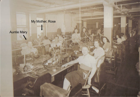 mother and aunt working in the factory in Boston, Massachusetts, seamstress, sample maker, factory worker