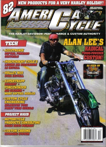 celebrity builder alan lee wearing his custom designed short sleeve lambskin jacket on the cover of american cycle magazine