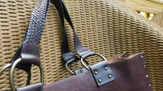 custom leather tote bag handles - unique braided leather tote bag handles