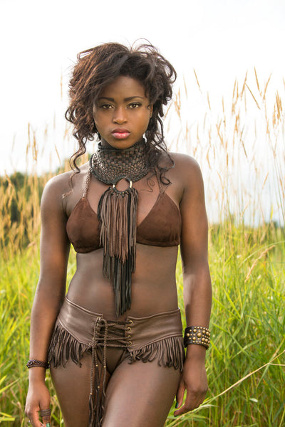 African Inspired Leather Necklace, Basketweave Collar Bib Style Neckpiece on model