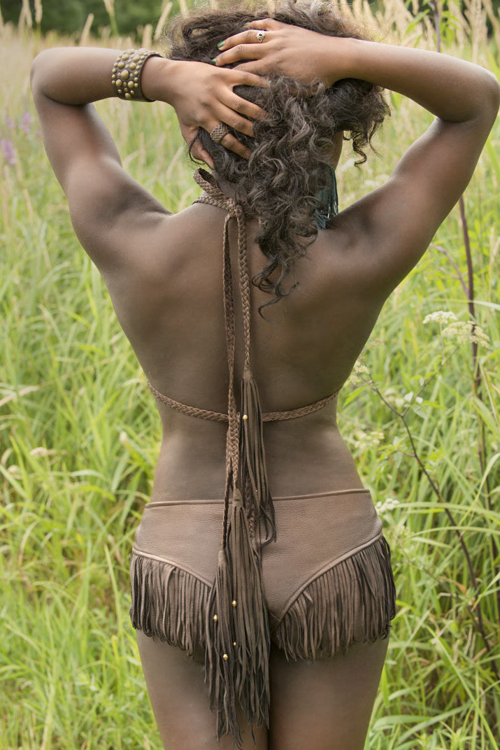 Darice Goatskin Suede & Braided Leather Bikini Top on model back