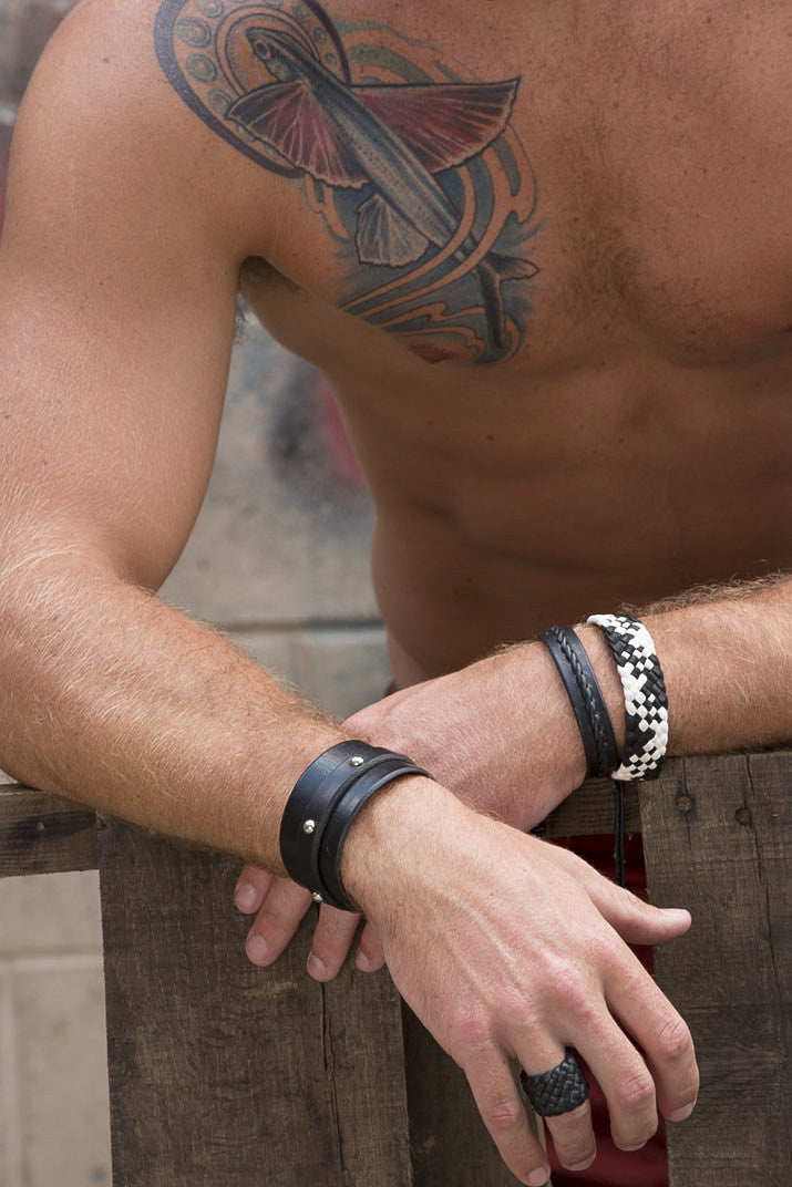 Tocari Dome Rivet Leather Cuff Black Close up on Male Model