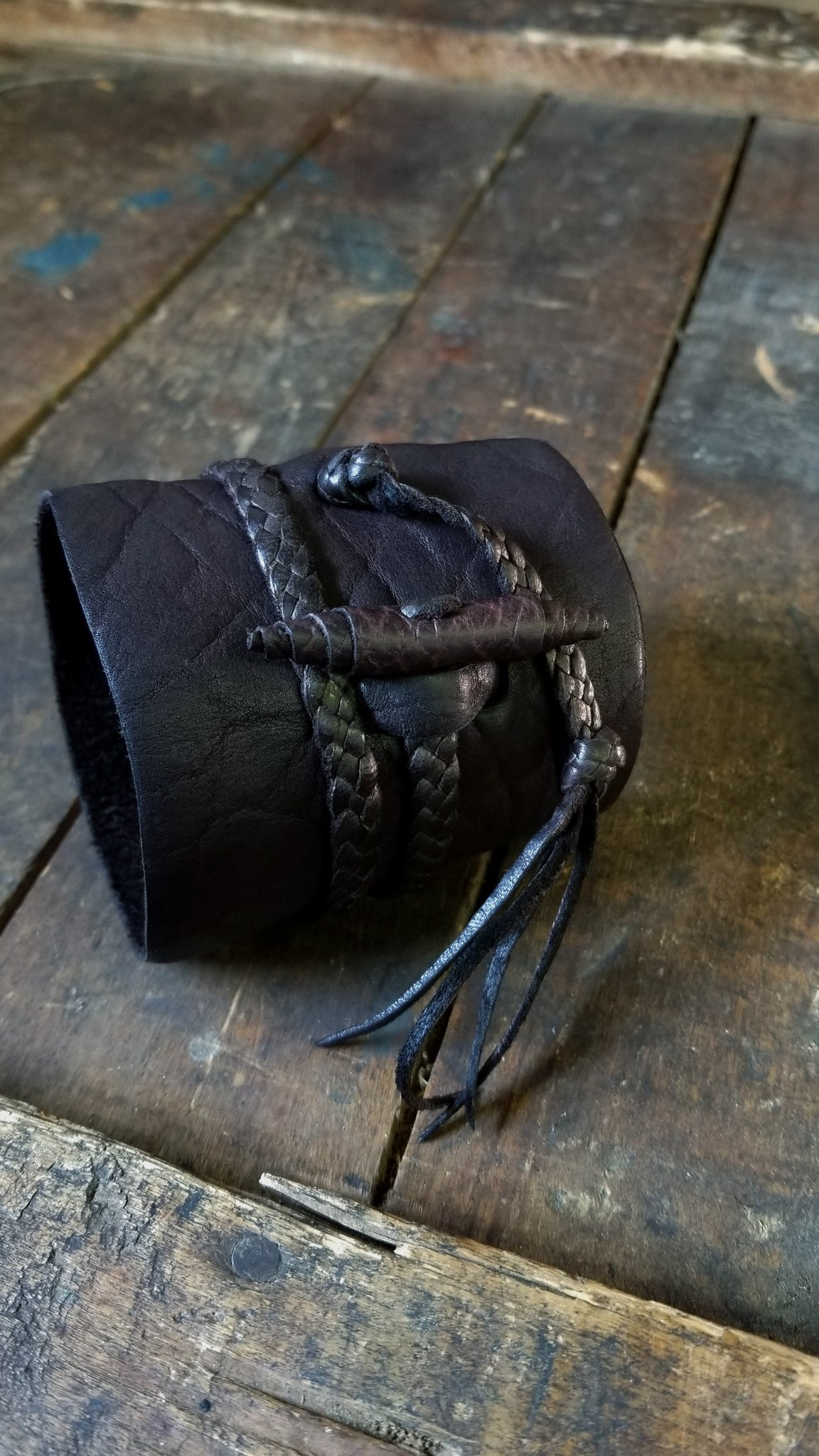 busajja leather wrap cuff, bison leather, chocolate brown, men's bohemian style cuff