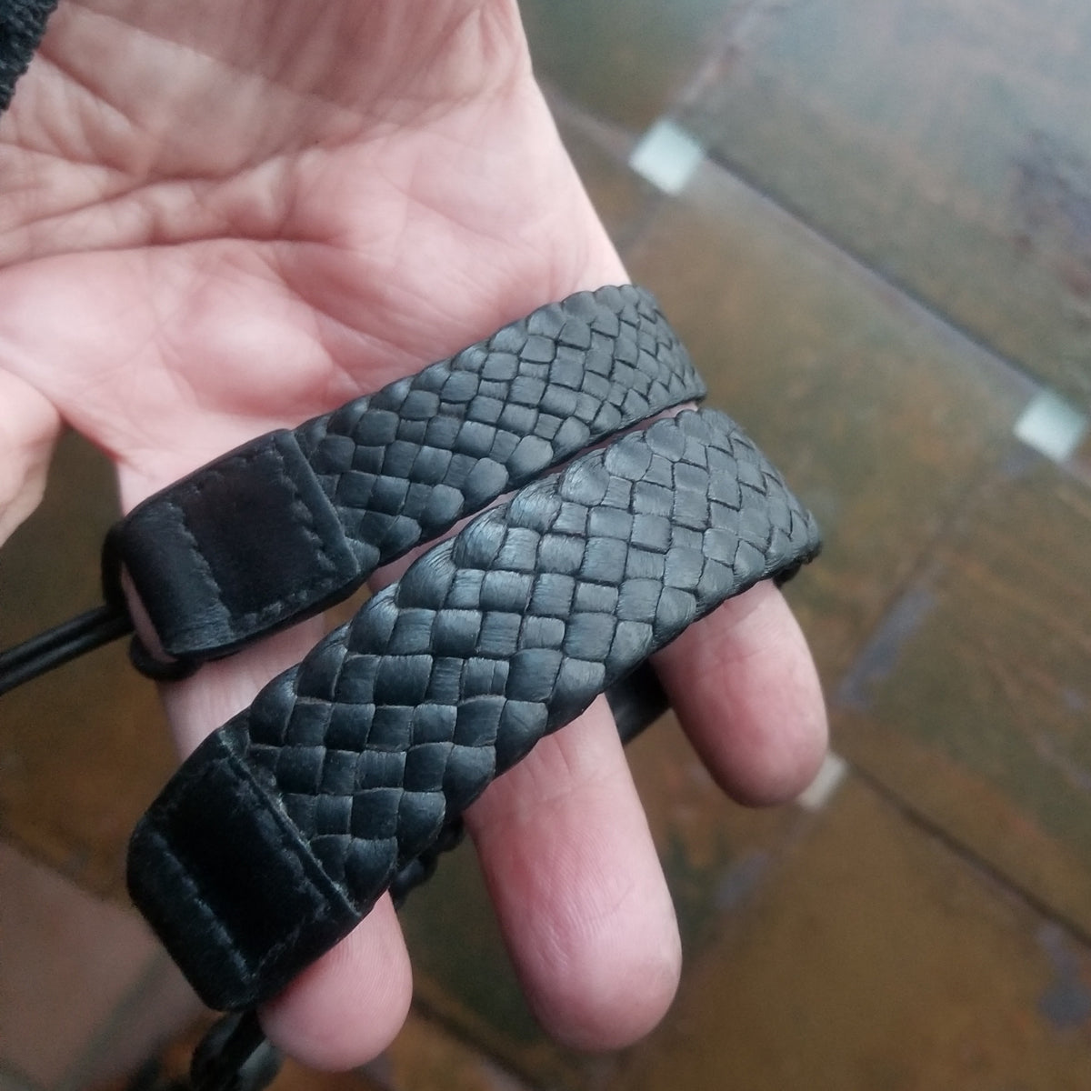 "luxury braided leather cuff bracelet - in 5/8"" and 3/4"" widths - in black deerskin leather"