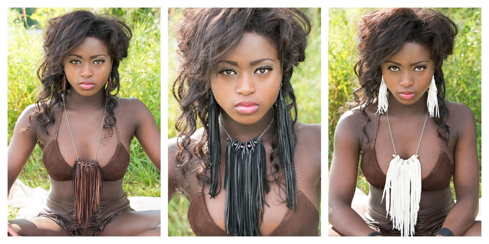 Three different lengths available for Badu Leather Fringe Necklace, on model
