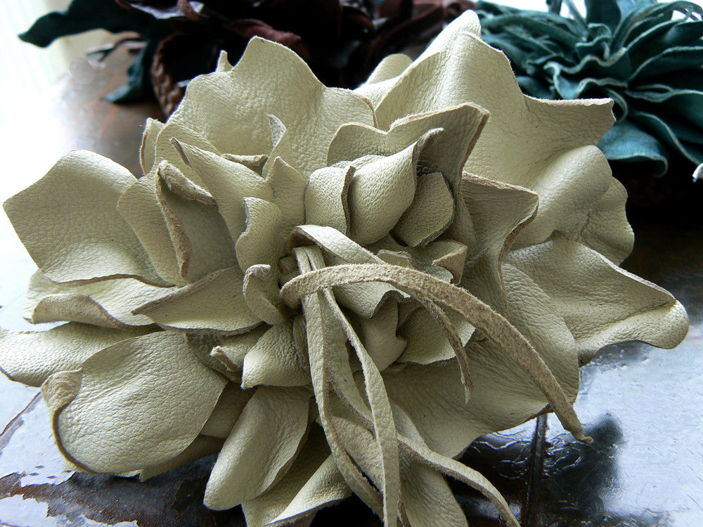 Beige Ayana Hand-Cut Lambskin Flower & Braided Leather Wrist Wrap