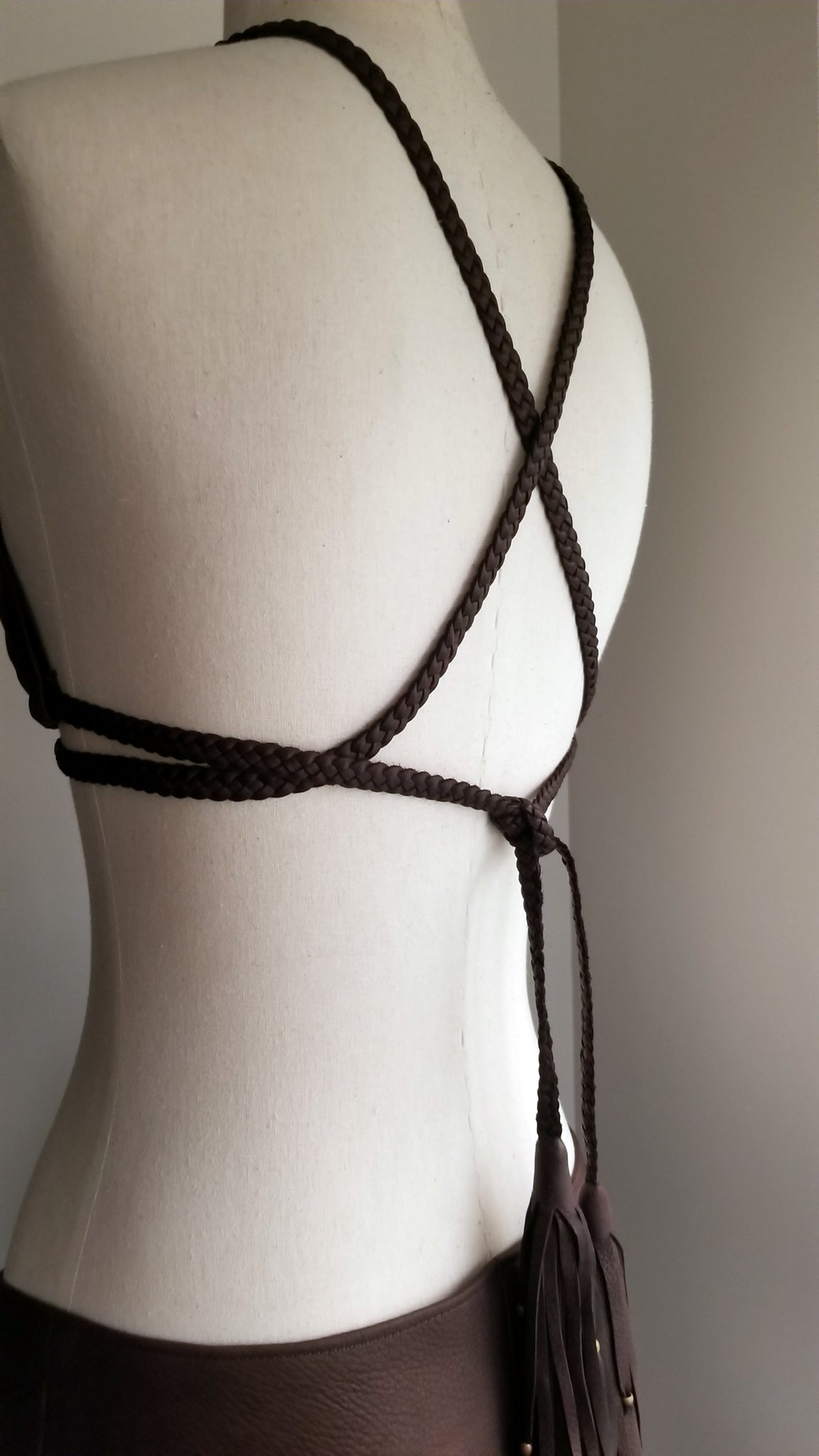 Darice deerskin leather bikini top on mannequin, chocolate brown leather