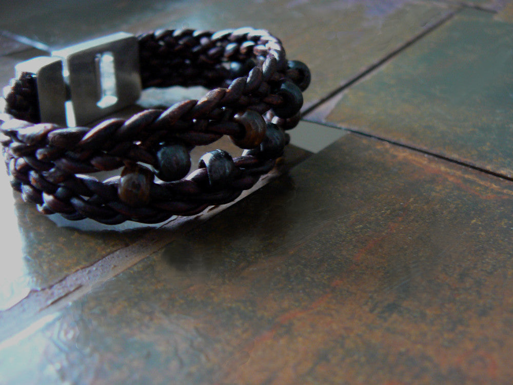 Zuri African Mala Bead Braided Leather Bracelet - SS1132