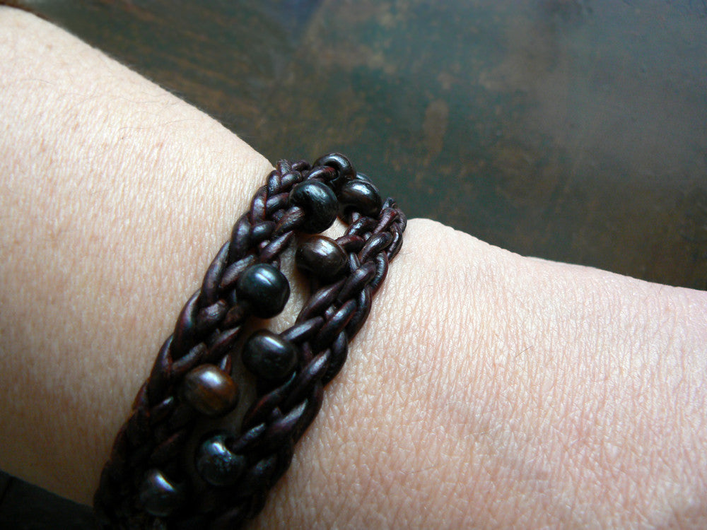Zuri African beaded braided leather bracelet with silver clasp