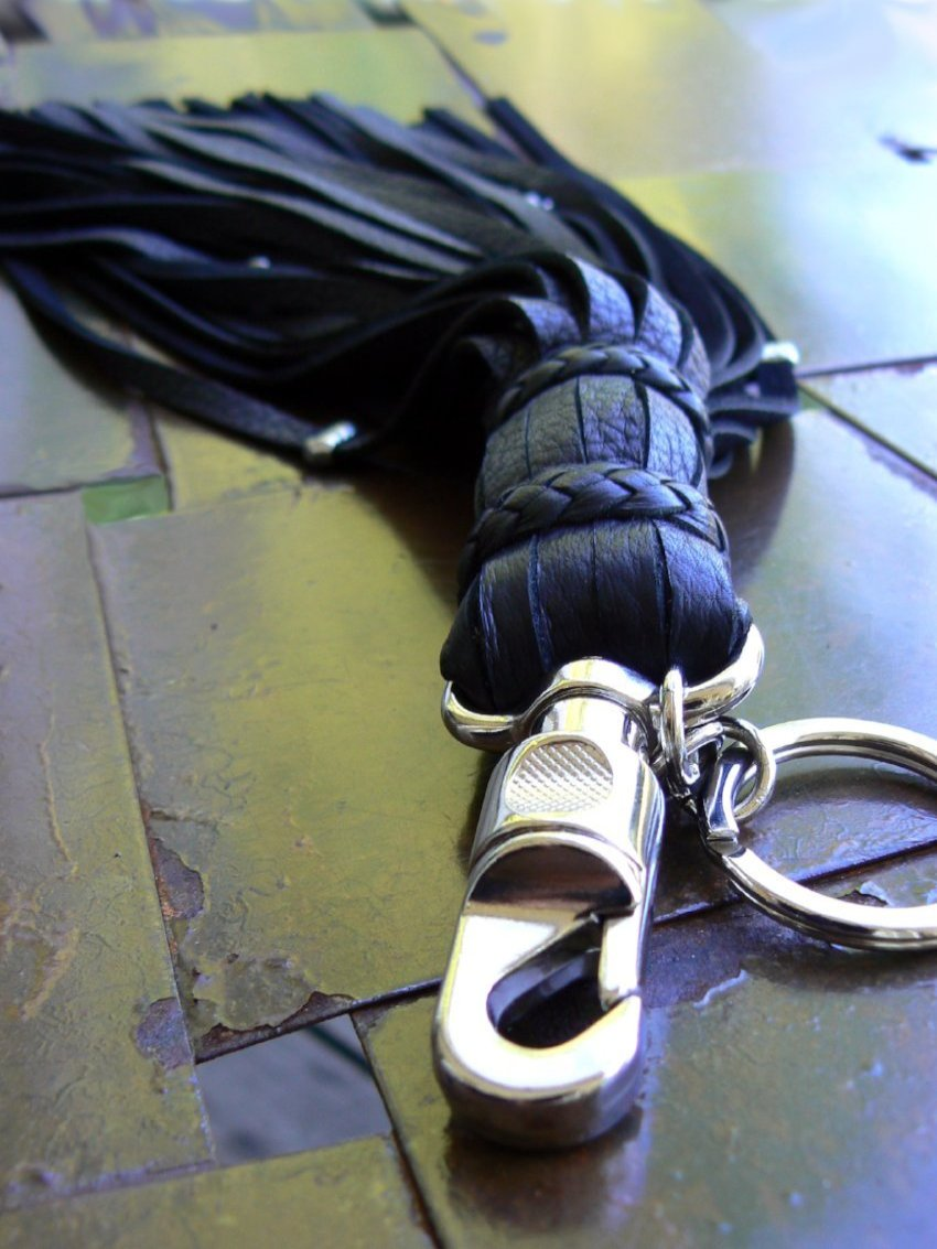 Malik II Leather Flogger Key Chain, Belt Clip & Purse Charm Black and Silver