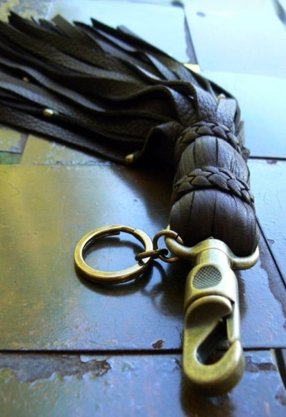 Malik II Leather Flogger Key Chain, Belt Clip & Purse Charm Chocolate and Antique Brass