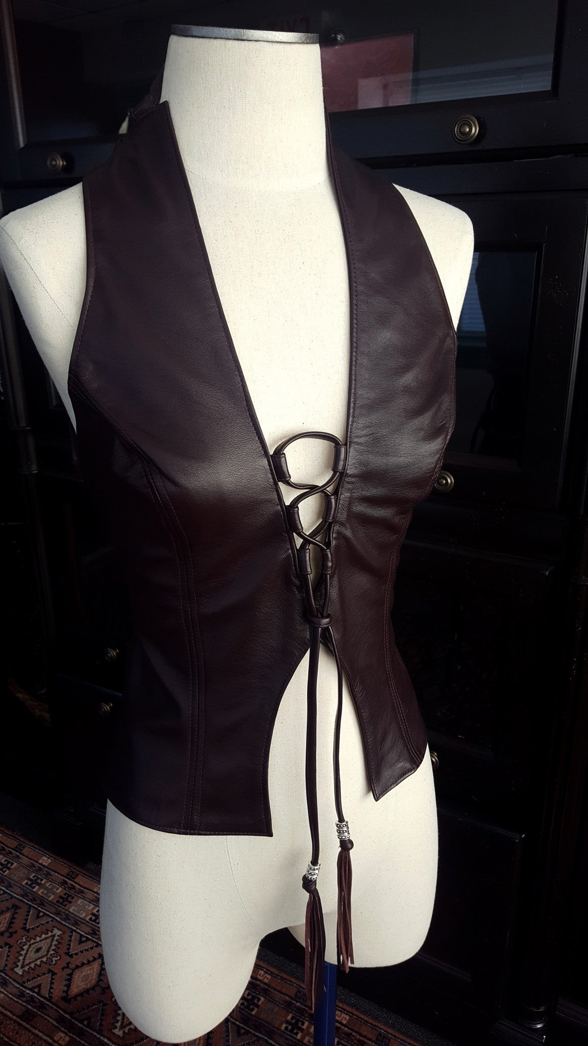 The Heaven Lambskin Leather Halter Top in beautiful and luxurious Eggplant lambskin.