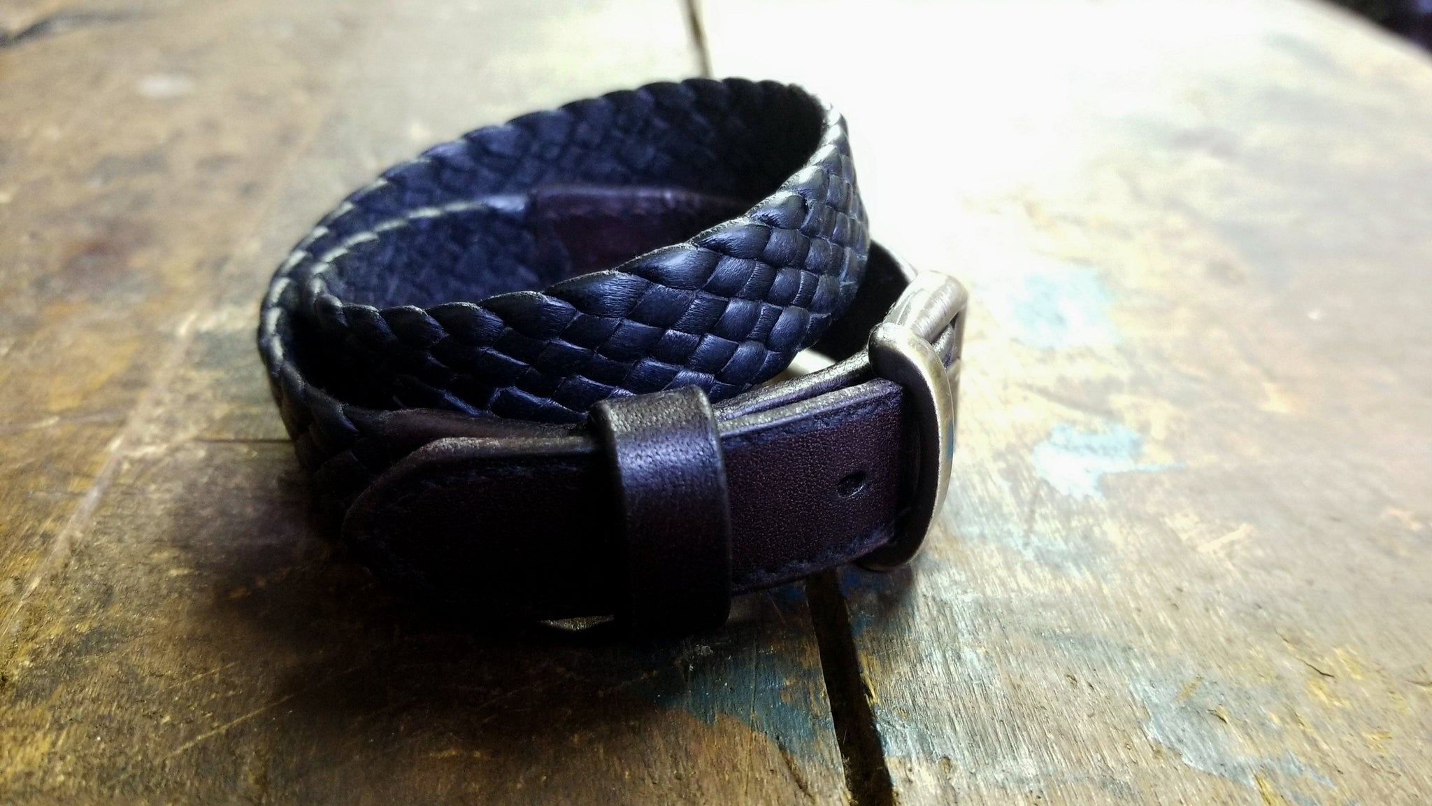 Kalani Double Wrap Braided Leather Bracelet, Black & Chocolate