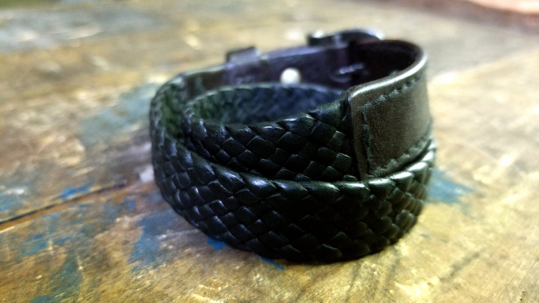 Kalani Deerskin Braided Leather Bracelet, Black & Chocolate
